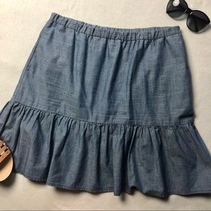 Tommy Hilfiger Chambray Ruffle Flare Skirt